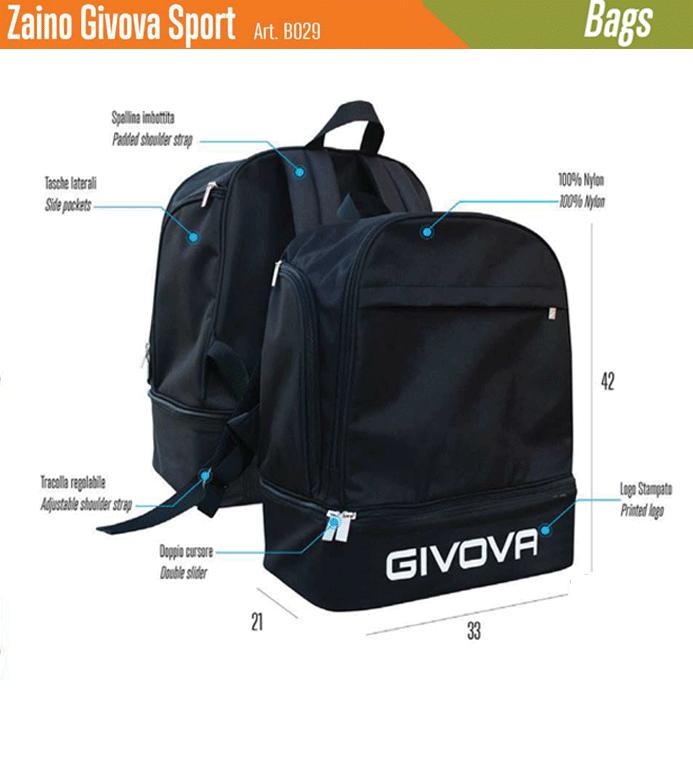 best service 06158 b21c0 Borsa Zaino Sportivo Givova Sport con Fondo Rigido Portascarpe
